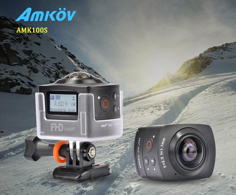 amkov amk100s 360 degree action camera