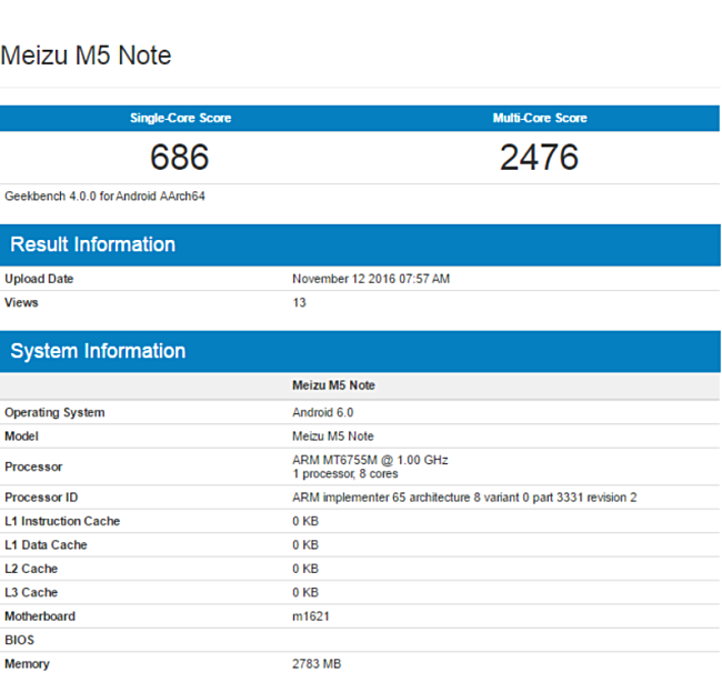Meizu M5 Not specifications