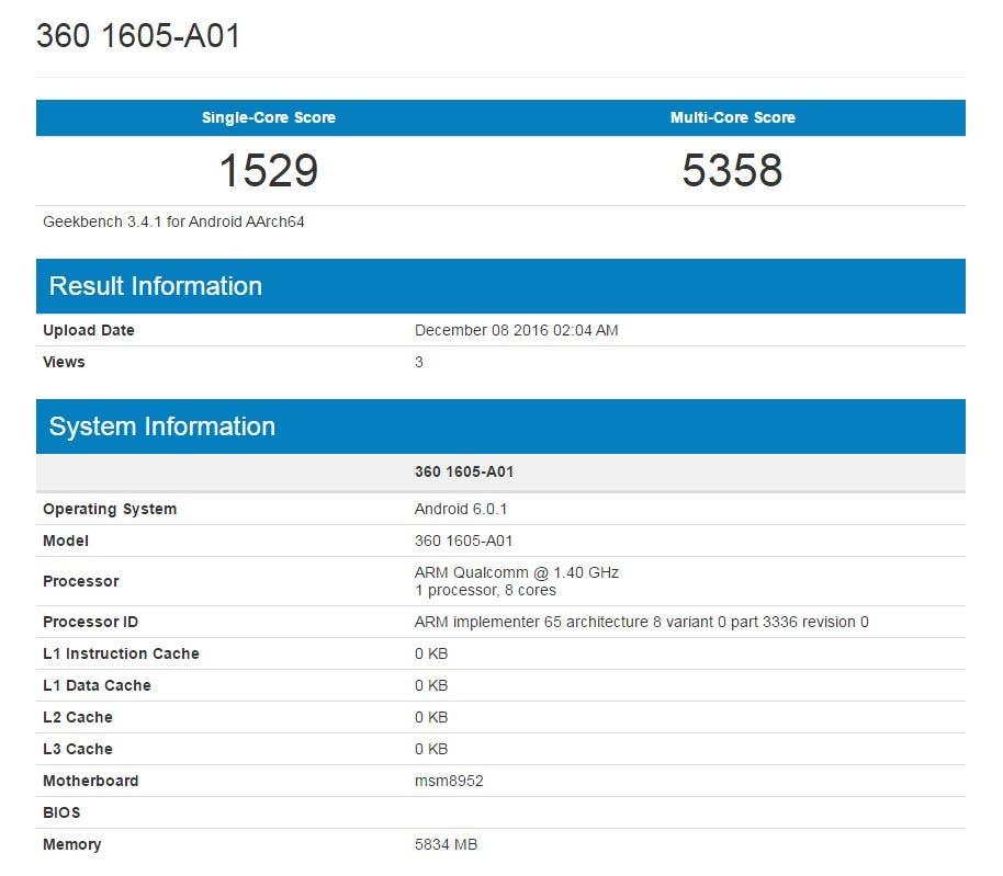 360 1605-A01 Geekbench