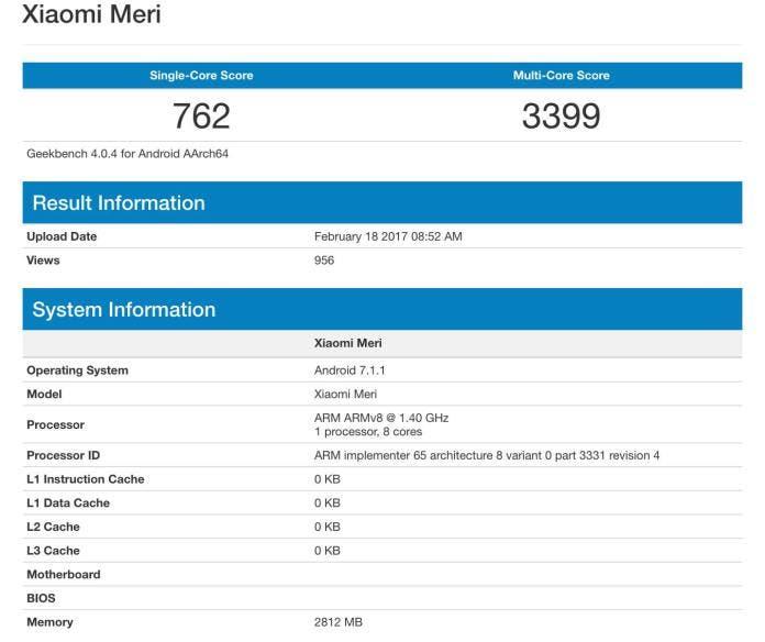 Feb18 Xiaomi Mi 5C Geekbench
