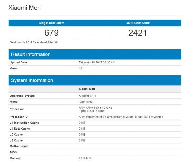 Feb20 Xiaomi Mi 5C Geekbench