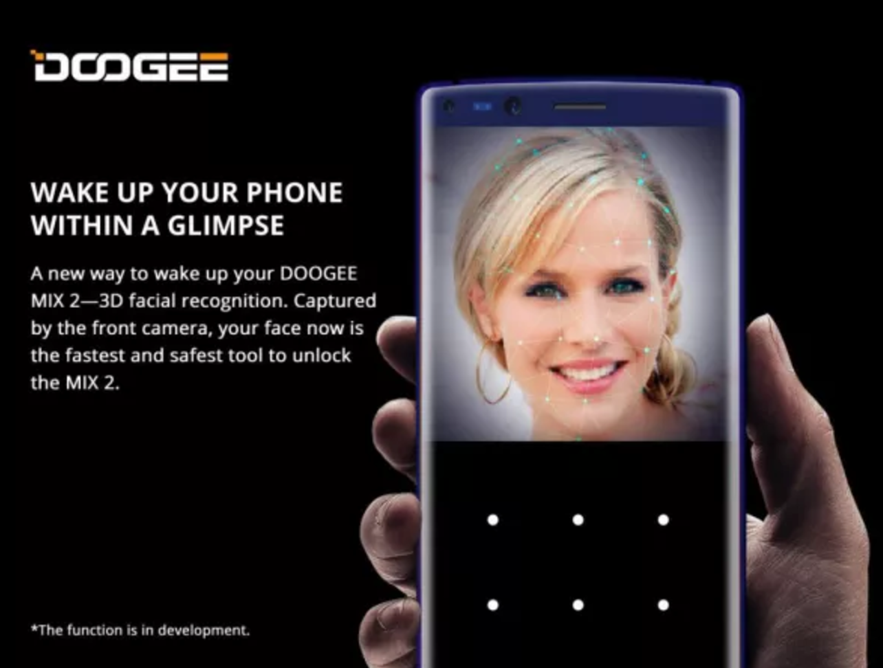 According To New Details Revealed Today The DOOGEE Mix 2 Will Support A Similar Face Recognition ID System As IPhone X Following
