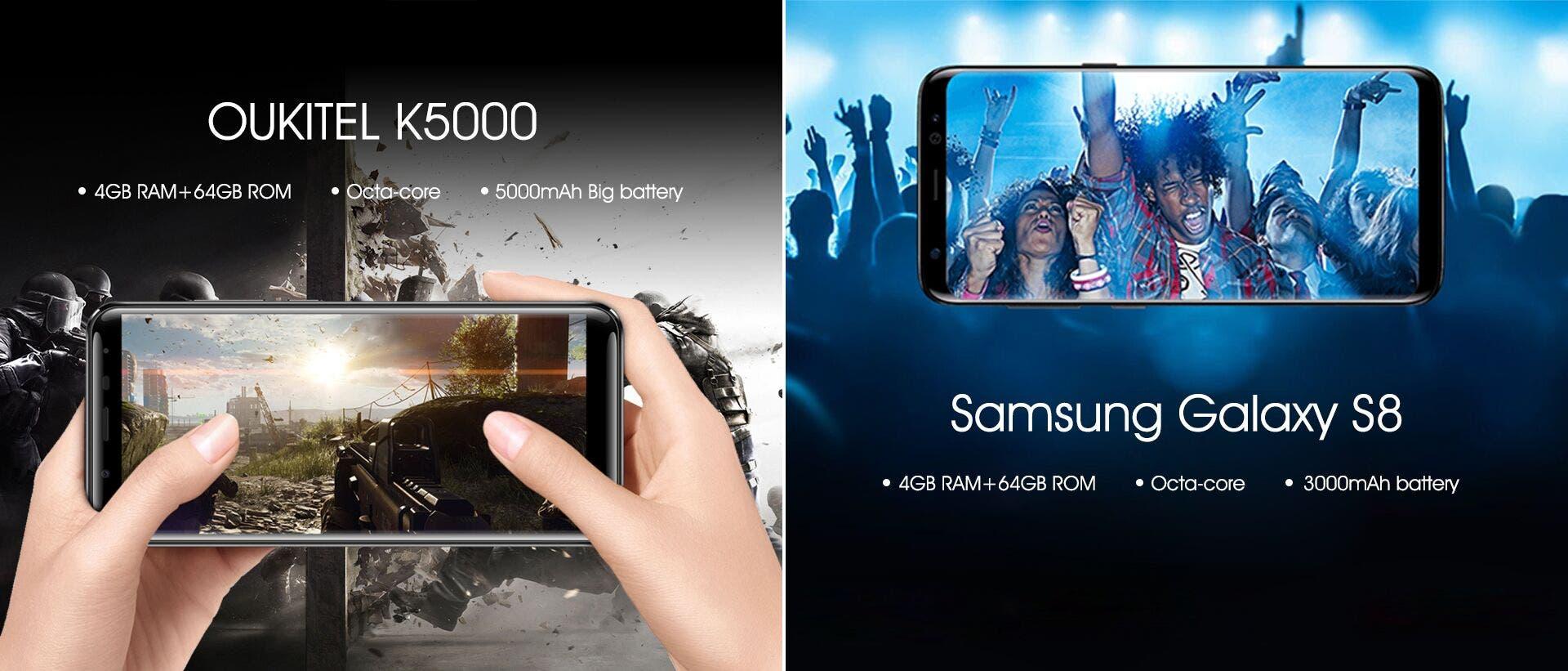 Oukitel K5000 vs Samsung Galaxy S8