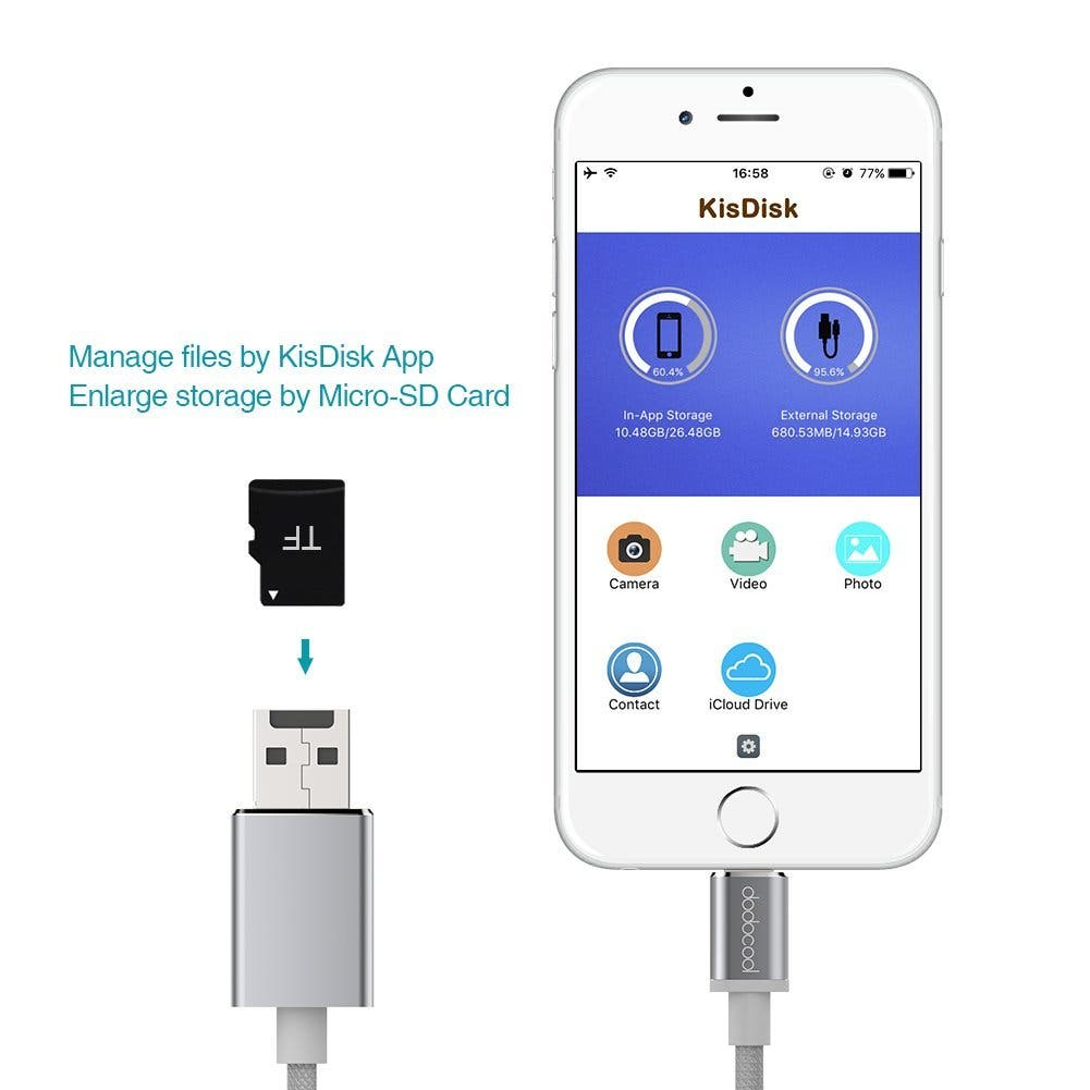 Dodocool Lightening to microSD / USB adapter