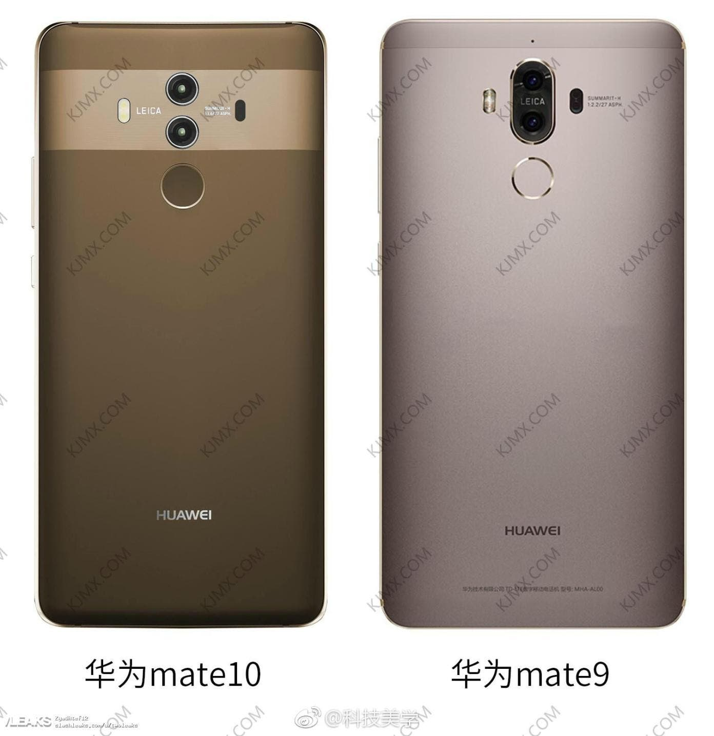 huawei mate 10 pro compared to the mate 9 in leaked image. Black Bedroom Furniture Sets. Home Design Ideas