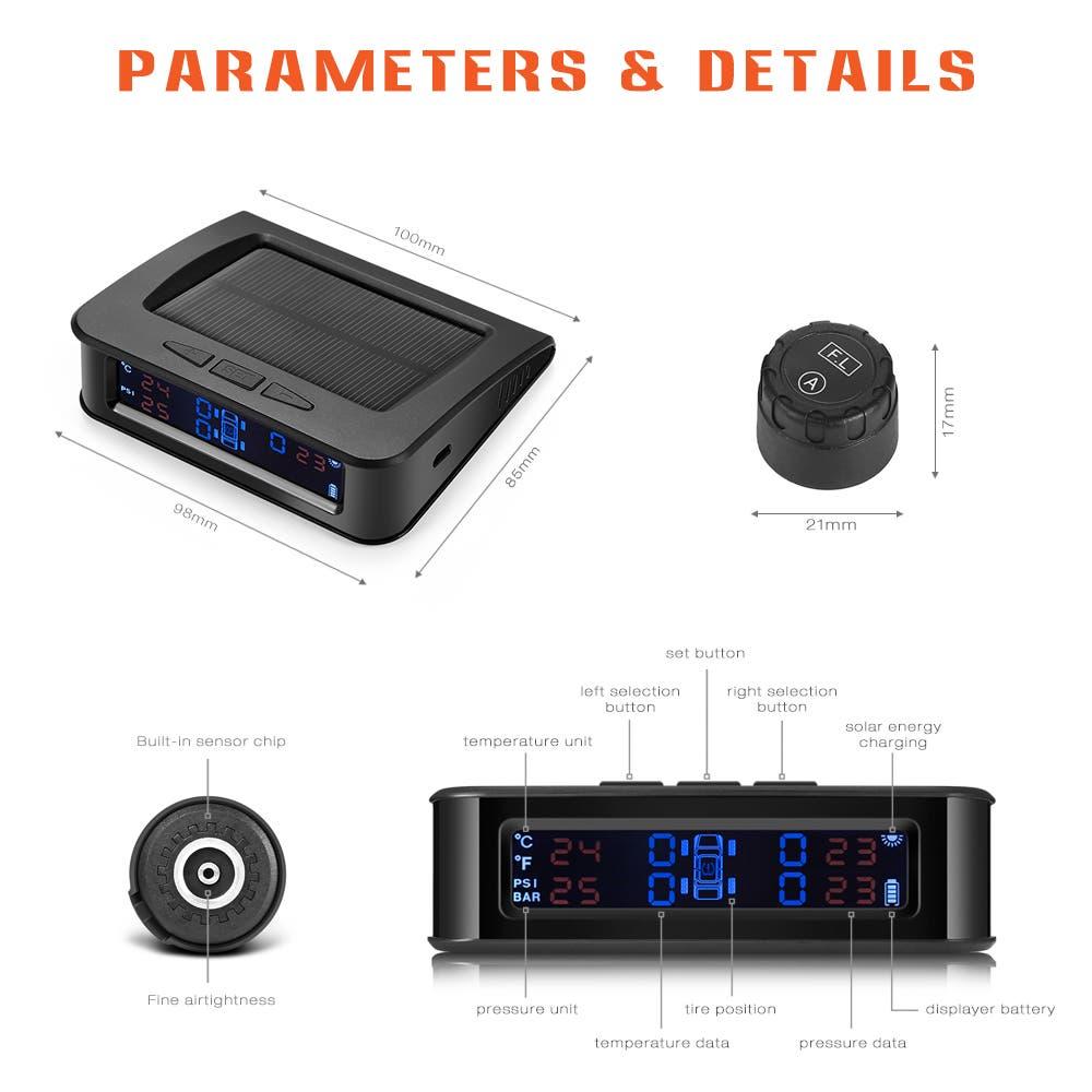 ZEEPIN C220 Solar Powered TPMS Car Tire Pressure Monitor System on Sale