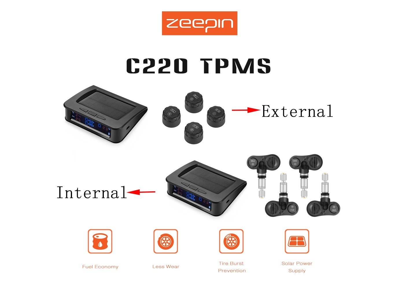 ZEEPIN C220 Solar Powered TPMS Car Tire Pressure Monitor System on Sale