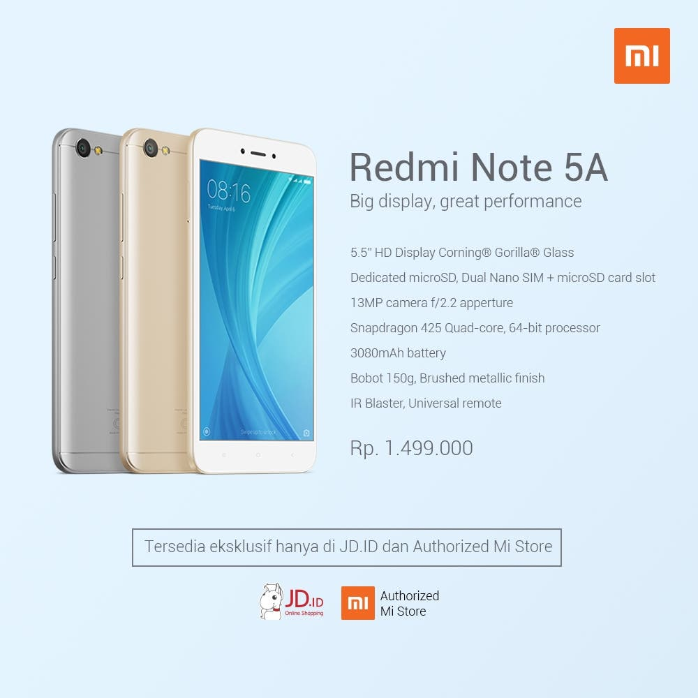 Xiaomi redmi note 5a lands in indonesia sells for 111 xiaomi redmi note 5a is now available in indonesia and it is exclusive to the online jingdong mall as well as the xiaomi mi stores in the country stopboris Choice Image