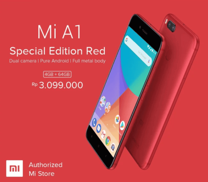 Red colored Xiaomi Mi A1