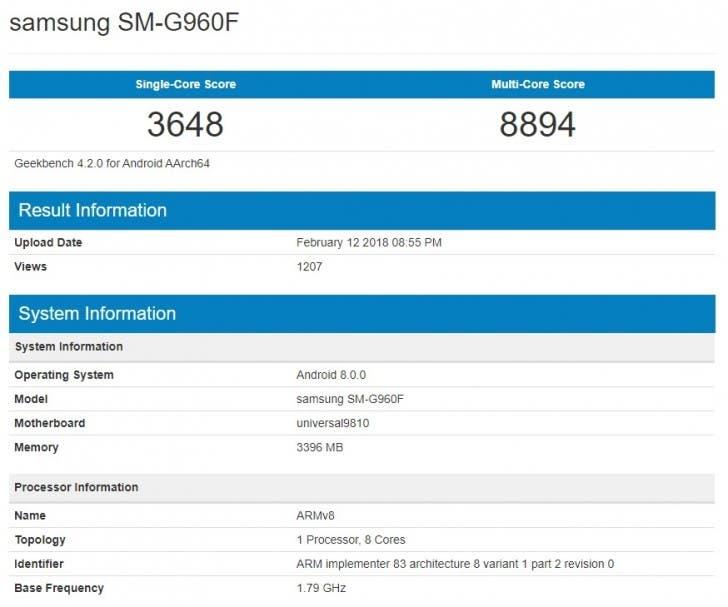 Galaxy S9 with Exynos 9810