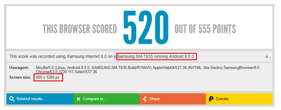 galaxy tab s4 html5 test