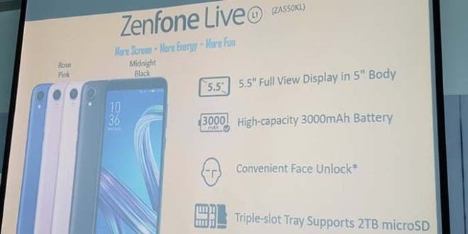 Zenfone Live L1 Android Go phone