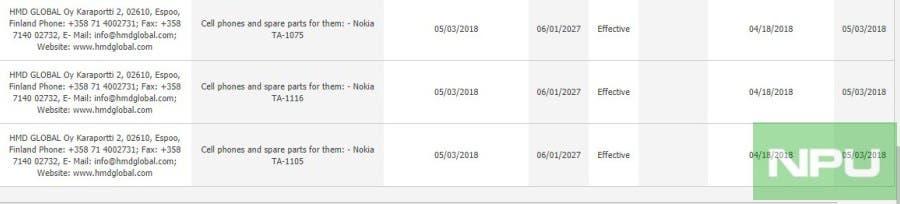 Nokia TA-1075, Nokia TA-1105, Nokia TA-1116