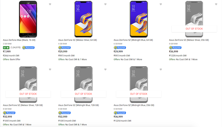 asus zenfone 5z pricing india