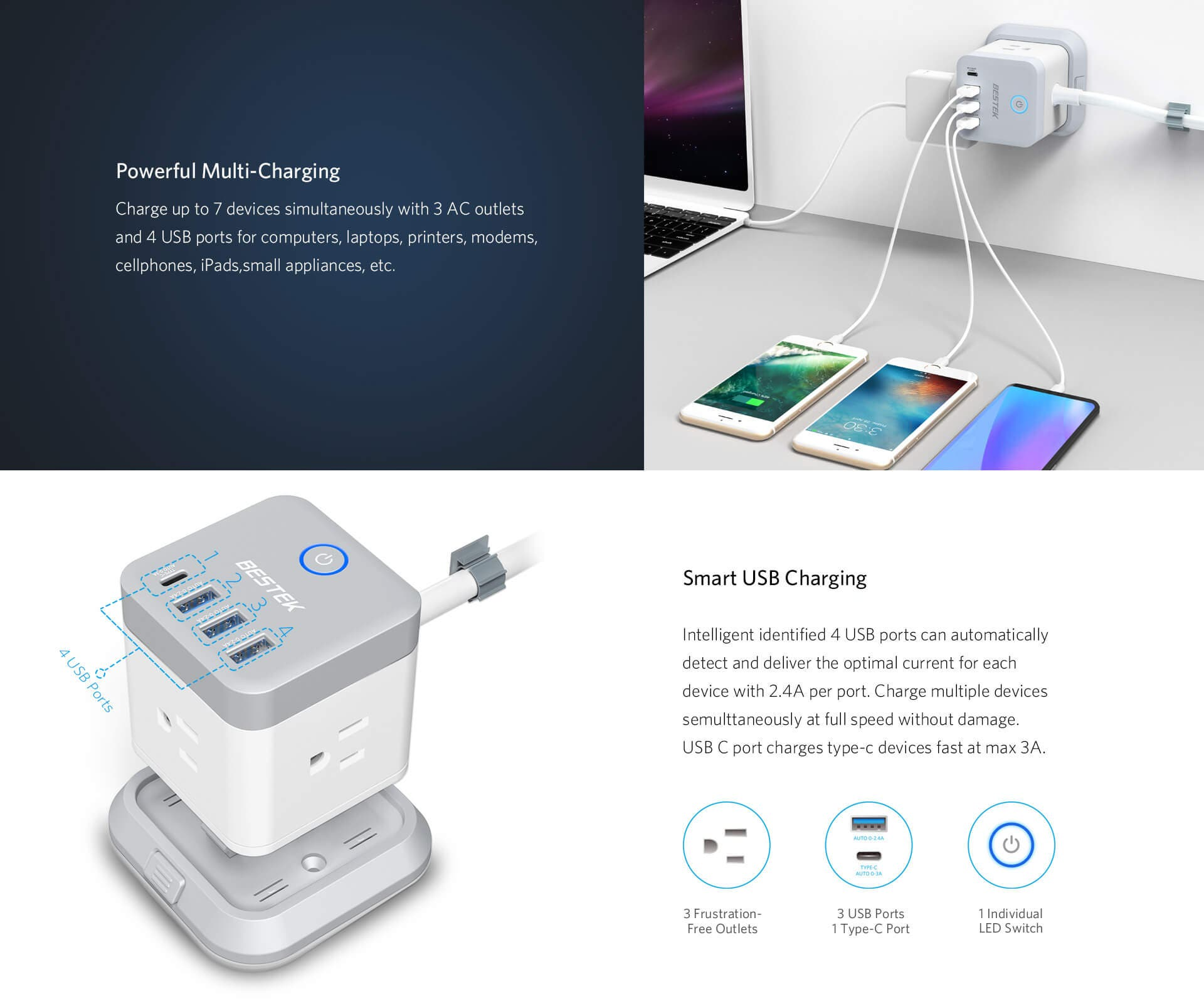 3-Outlet Vertical Cube