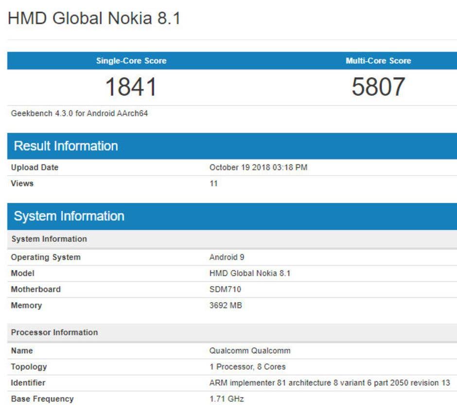 Nokia 8.1 Geekbench