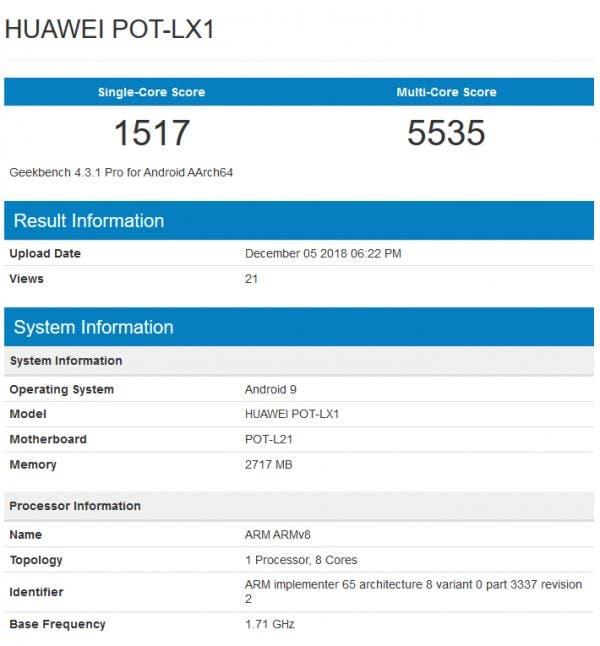 Huawei P Smart 2019 GeekBench