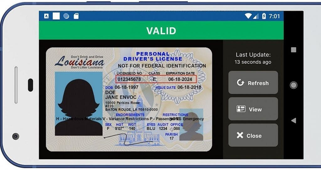 Android Digital Driver License