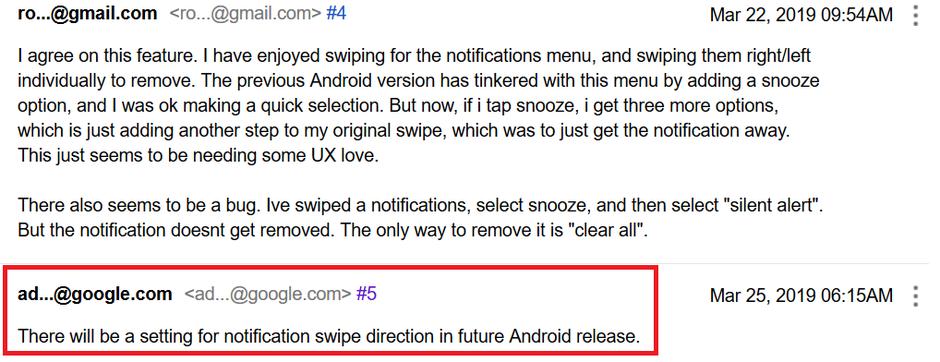 Android Q swipe