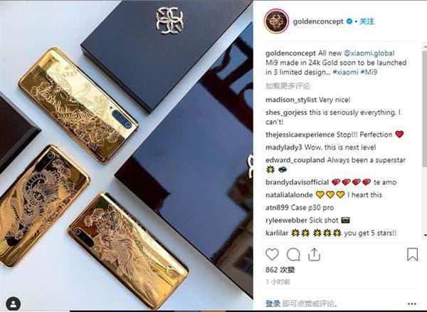 Xiaomi Mi 9 with  24K pure gold body