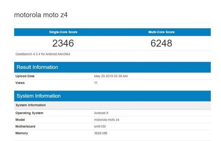 Moto Z4 Geekbench