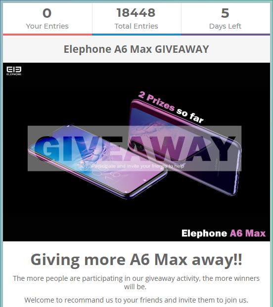 ELEPHONE A6 Max giveaway