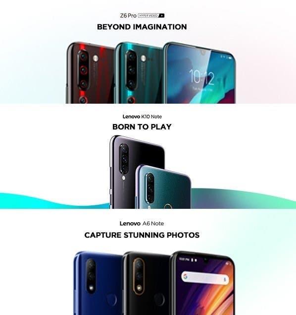 Three Lenovo smartphones