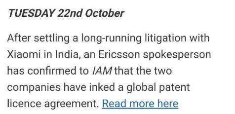 Xiaomi and Ericsson patent