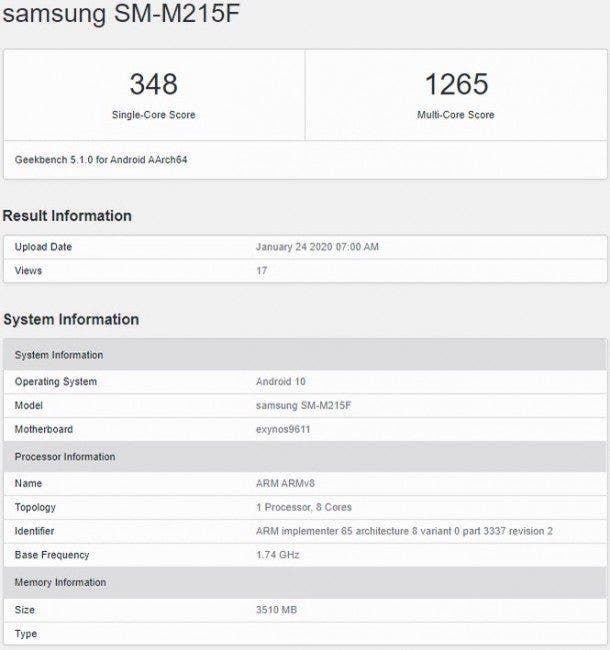 Samsung Galaxy M21 geekbench