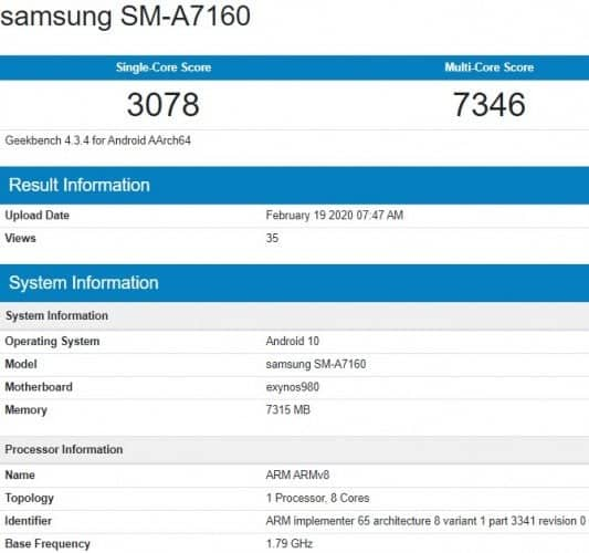 Galaxy A71 5G geekbench