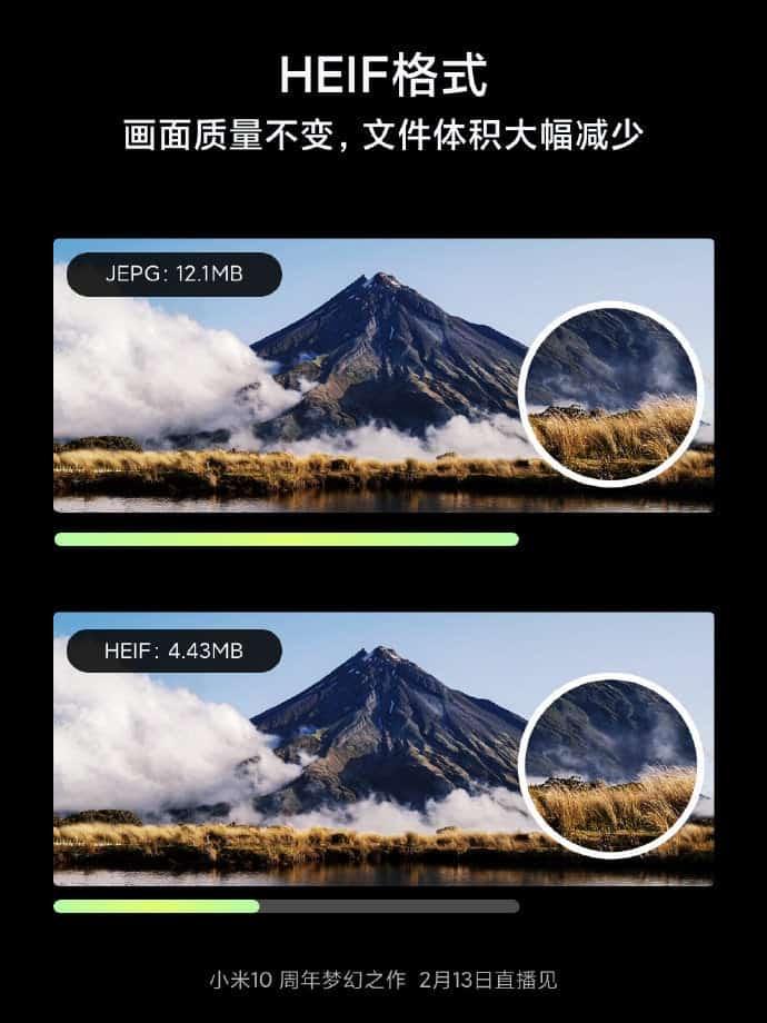 Xiaomi Mi 10 HEIF format