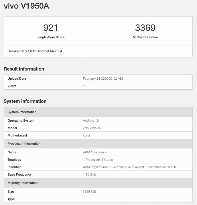 Vivo NEX 3 5G GeekBench