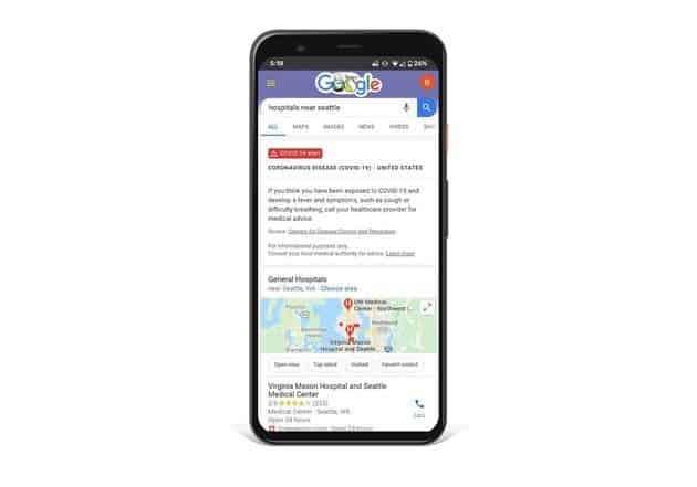 Google coronavirus screening website