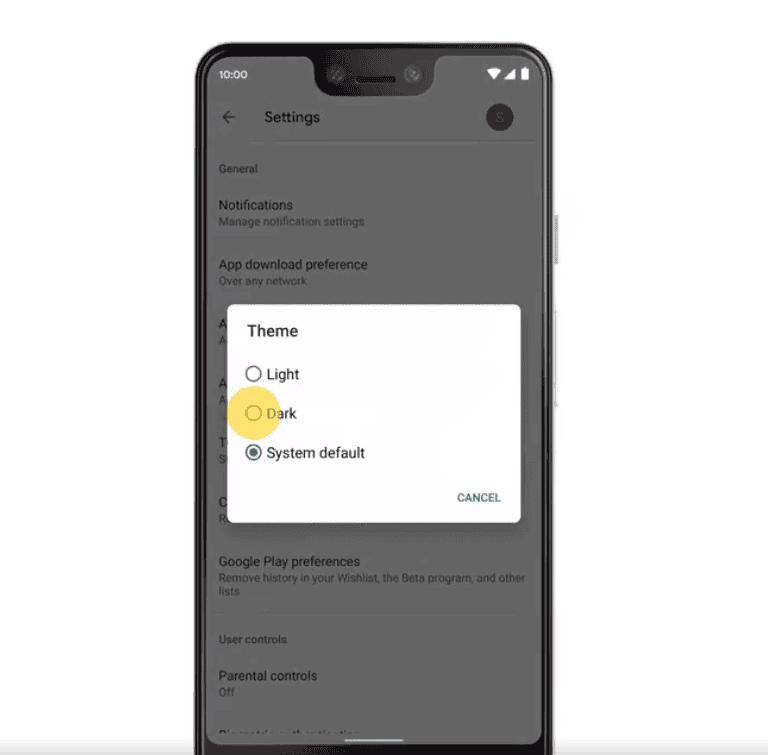 google play store dark theme