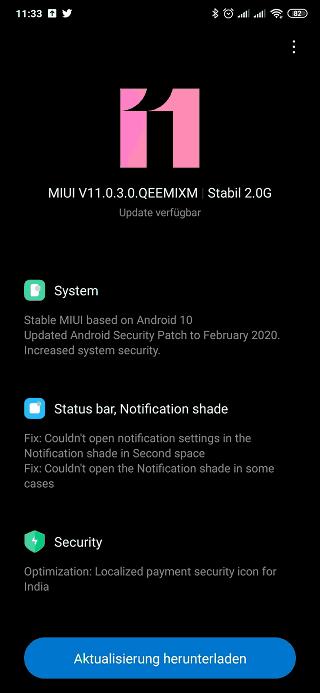 Xiaomi Mi Mix 3 update