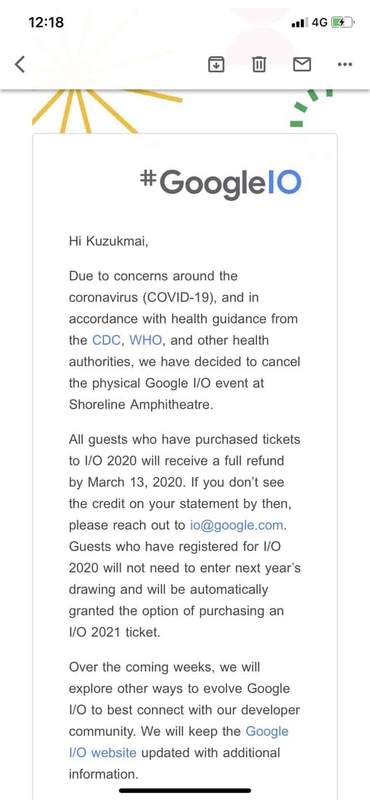 Google I / O 2020 conference cancelled