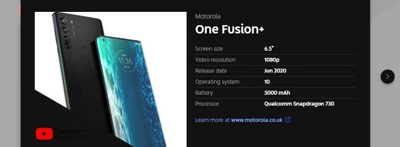 DIGBUSEL - Parameter Ponsel Motorola One Fusion Plus Terungkap