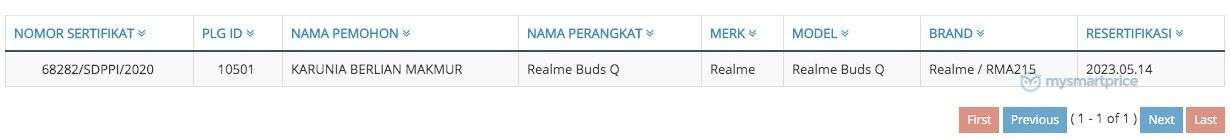 Realme Buds Q certified