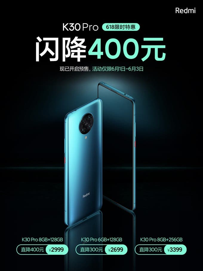 Redmi K30 Pro Gets 400 Yuan Price Cut For 618 Sales in China