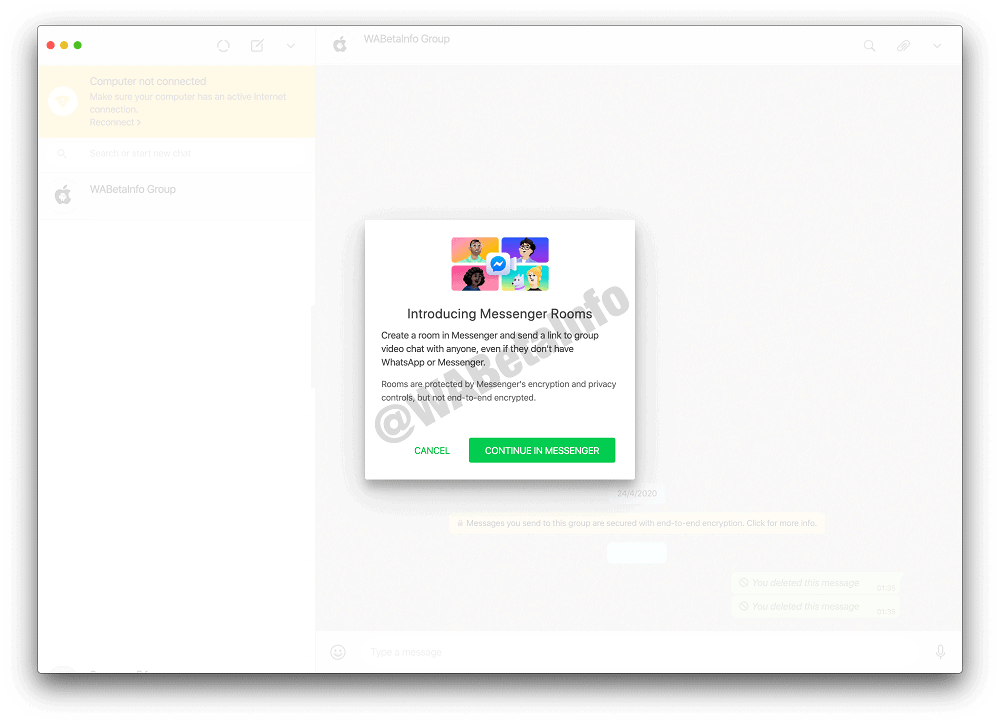 WhatsApp's new Messenger Room feature spotted on desktop version