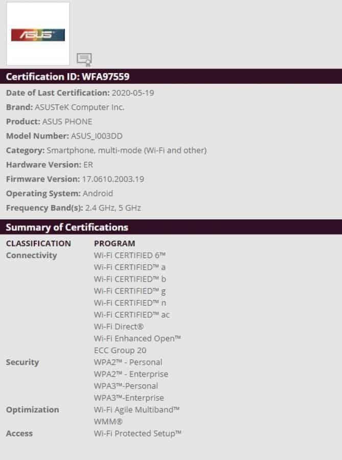DIGBUSEL - Asus ROG Phone 3 muncul di Geekbench dan sertifikasi WiFi Alliance