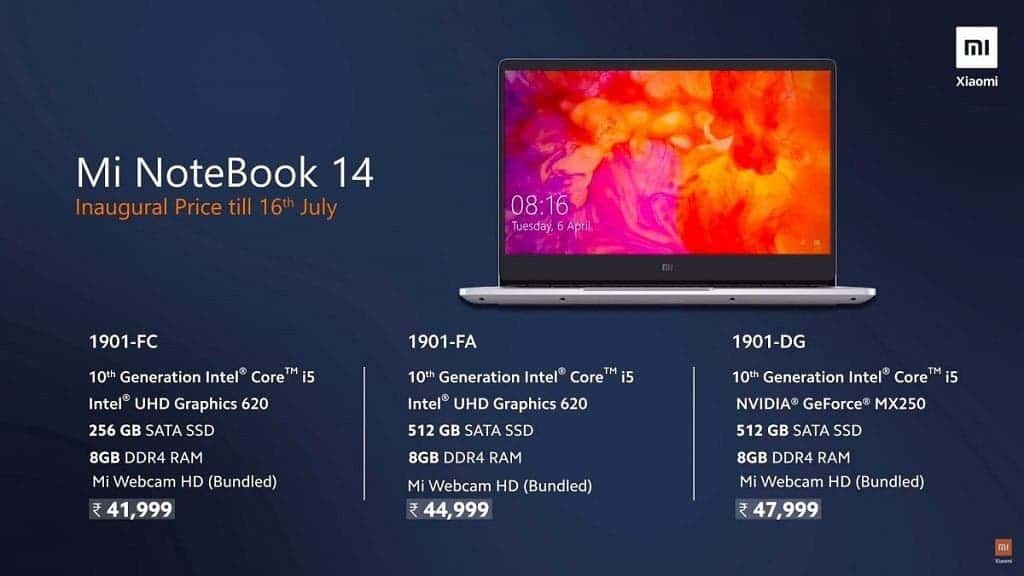 Mi Notebook 14 and Mi Notebook 14 Horizon Edition Launched in India Starting At Rs. 41999