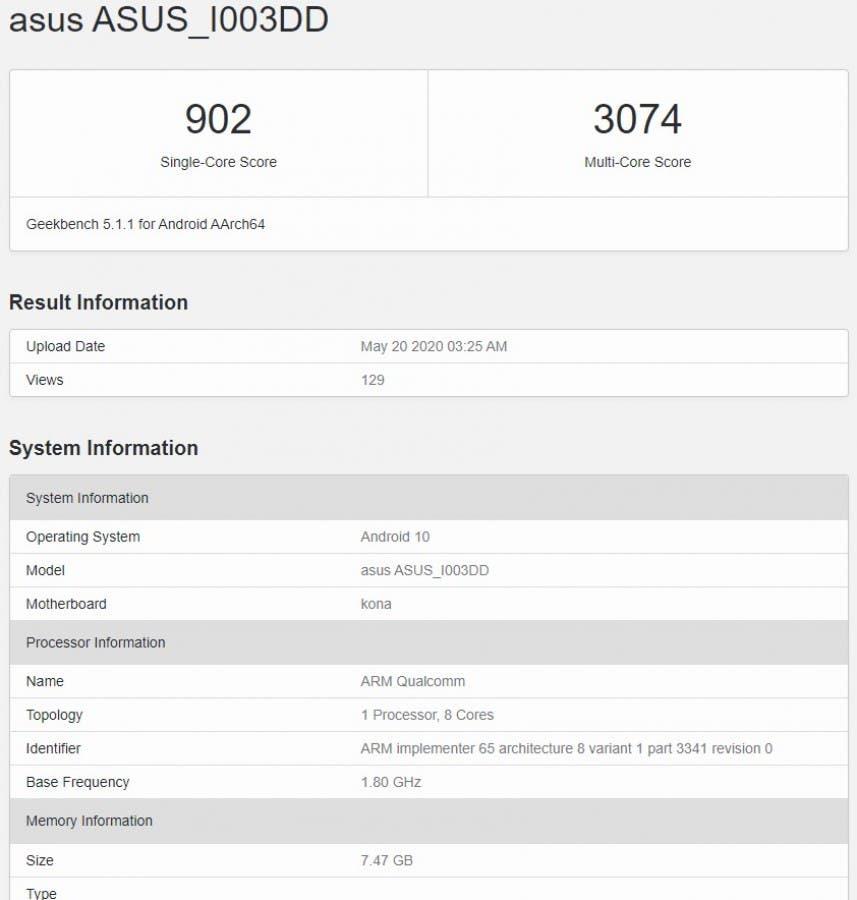 Asus ROG Phone 3 Geekbench Listing