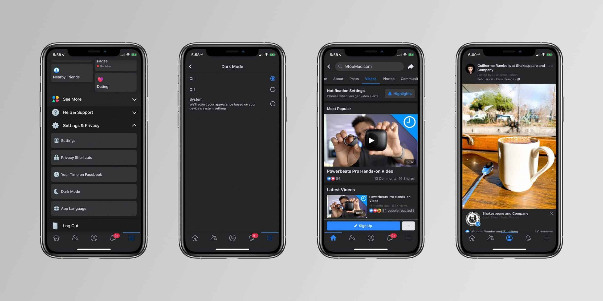 Facebook dark mode
