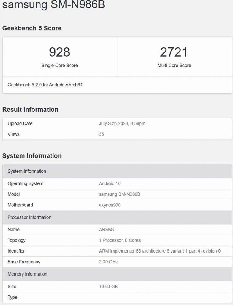 Galaxy Note 20 Ultra Exynos 990 GeekBench