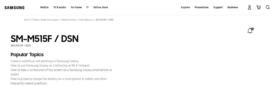 Galaxy M51 Support Page