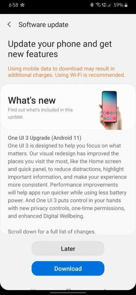Galaxy M30s Android 11