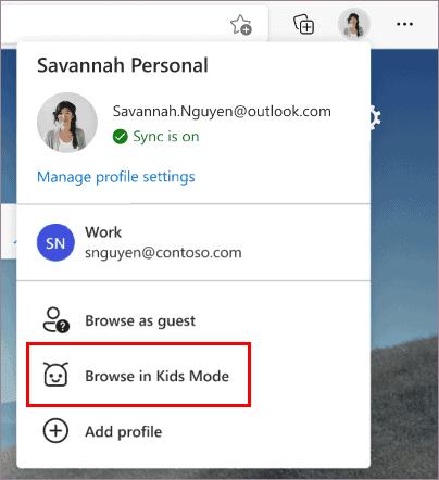 Microsoft Edge Child mode