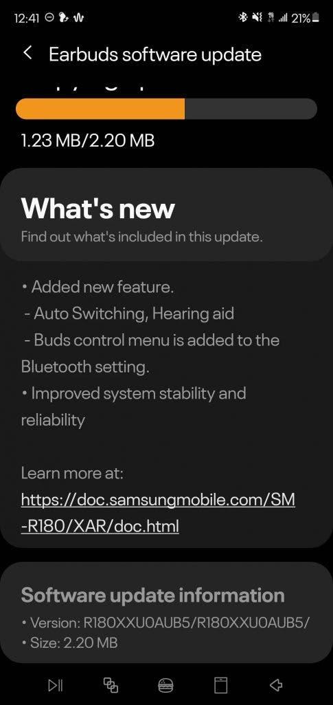 Galaxy Buds Live software update