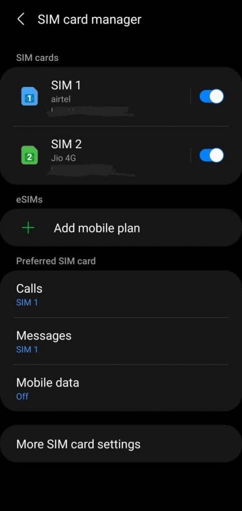 Galaxy S20 eSIM India